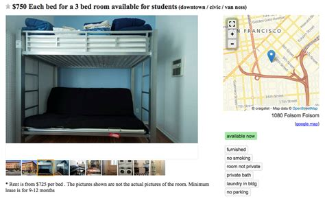 craigslist sf housing san francisco s bunk bed craigslist ads show the depth of