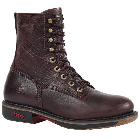 rocky work boots for rocky ride 8 quot s waterproof lacer brown work boots