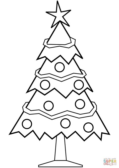 christmas tree and presents coloring page simple christmas tree coloring page free printable