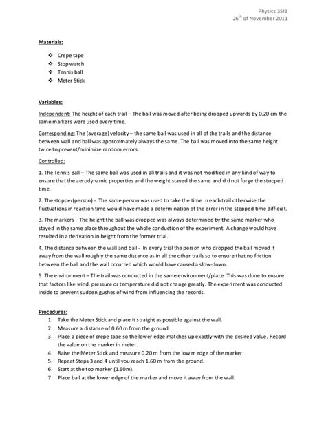 design lab report ib ib physics sl design lab
