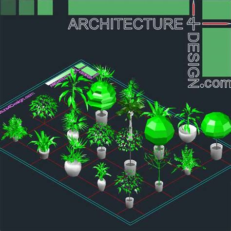 Home Design Software Free autocad 3d trees and shrubs models dwg file