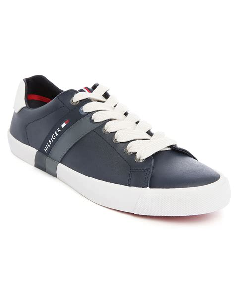 hilfiger sneakers mens hilfiger volley navy leather sneakers in blue for