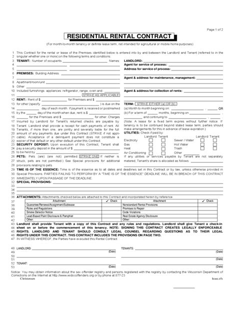 Wisconsin Rent And Lease Template Free Templates In Pdf Word Excel To Print Wisconsin Rental Lease Agreement Template
