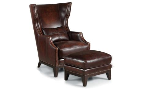 leather oversized chair with ottoman leather accent chair with large wingback design plus