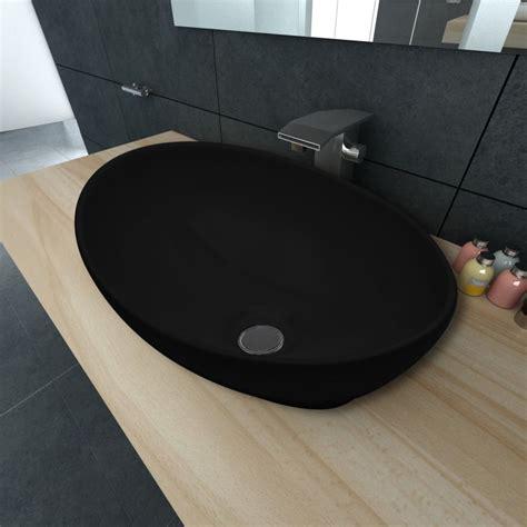 handwaschbecken corian keramik waschtisch waschbecken oval schwarz 40 x 33 cm