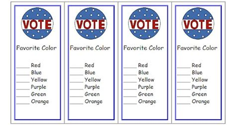 free voting ballot template free voting ballot bookmarks classroom printable