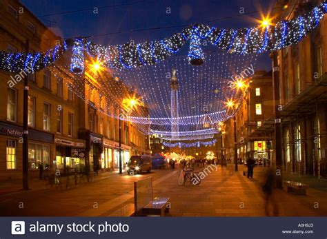 christmas lights grey street newcastle upon tyne stock