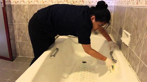 Cleaning Bathroom Floor by Bathroom Cleaning Housekeeping Assignment