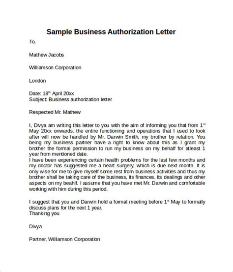 authorization letter template for business letter of authorization 10 free documents in