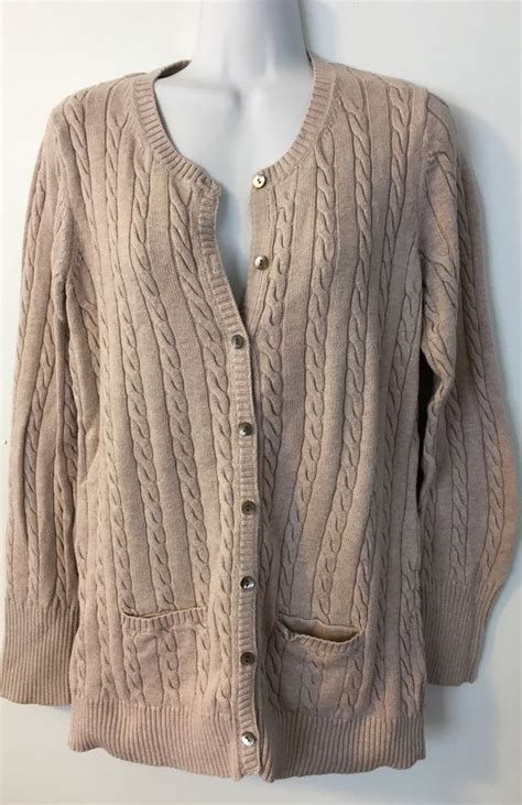 eddie bauer cable knit sweater womens eddie bauer cable knit cardigan size large l