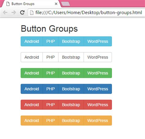 bootstrap color create horizontal menu button groups using bootstrap in