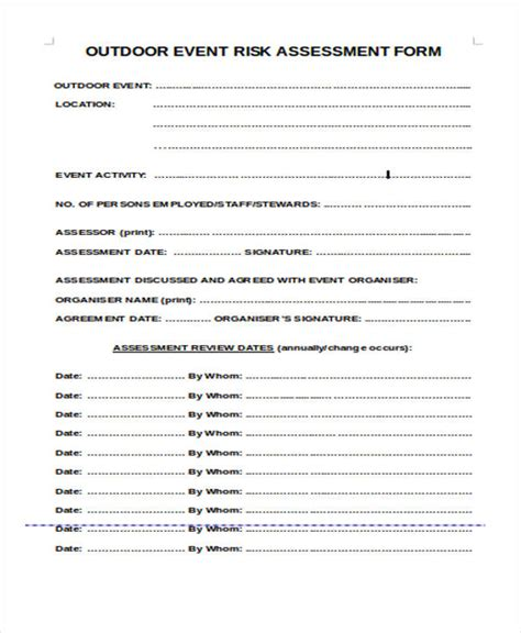 event risk management template 36 sle risk assessment form