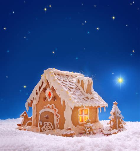 christmas card holiday gingerbread house stock photo