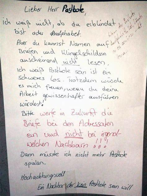 Beschwerdebrief Nachbarn Absolut Genervt Vom Postboten Ob Dieser Zettel Wirklich