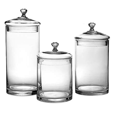 silver kitchen canisters glass canisters with silver knobs set of 3 bed bath beyond