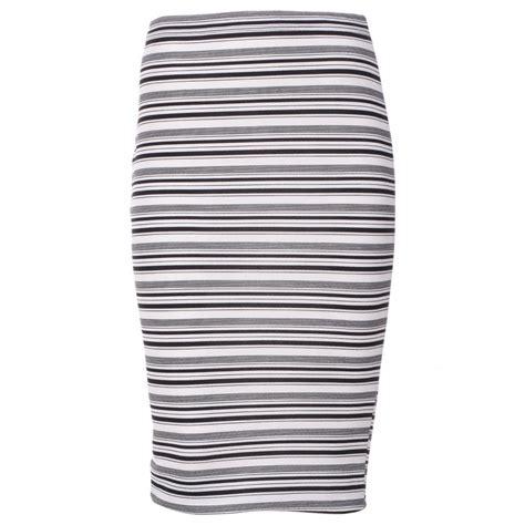womens white black striped textured midi skirt
