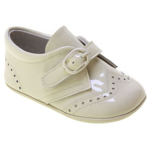 baby pram shoes baby boy ivory patent brogue pram shoes cachet