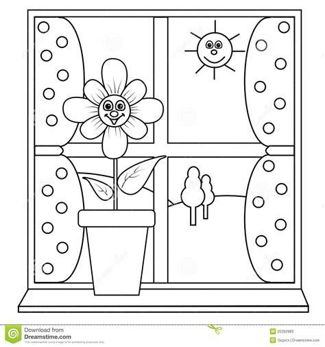 imagenes para colorear ventana una flor al lado de una ventana ilustraci 243 n del vector
