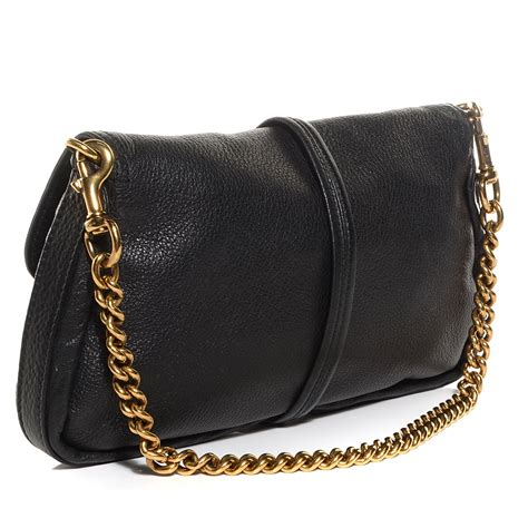 Gucci Evening Bag by Gucci Leather Bamboo Croisette Evening Bag Black 96373
