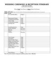 Wedding Music List Template Outline For Formal Wedding Itinerary Wedding Dj