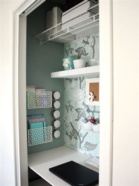 closet desks utilize spaces with creative shelves hgtv