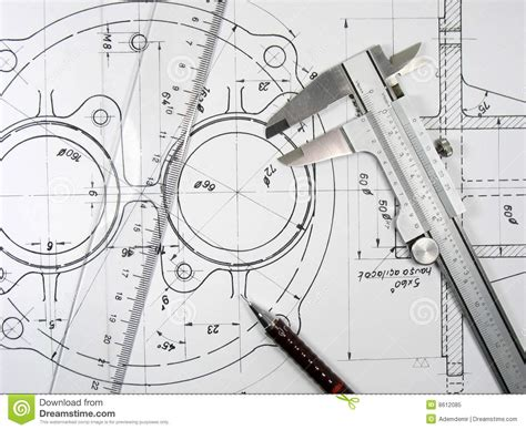 draw tool design caliper ruler and pencil on technical drawings stock