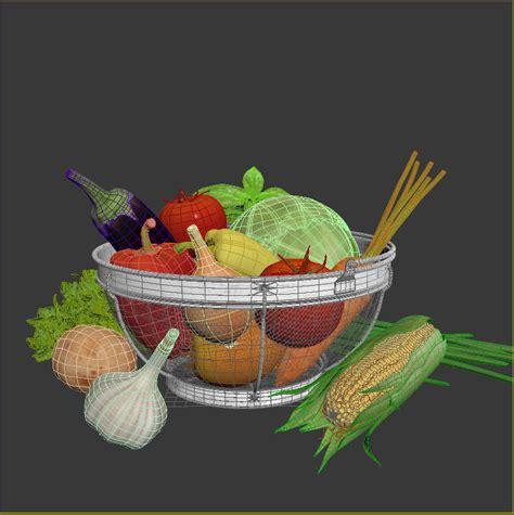 vegetables 3d max vegetables in the basket 3d model max obj 3ds fbx