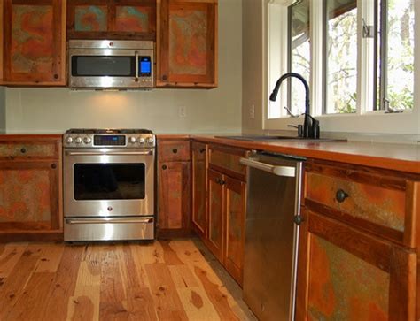 copper kitchen cabinets photo