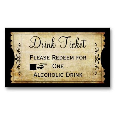 drink token template vintage wedding ticket drink punch card