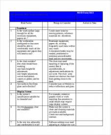 workstation assessment template risk assessment form sles 9 free documents in word pdf