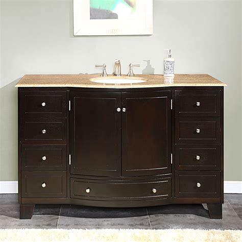 55 Inch Single Sink Bathroom Vanity with Travertine