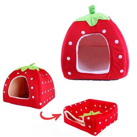 Cute Foldable Collapsible Strawberry Dog House Assorted Sizes Stickpets