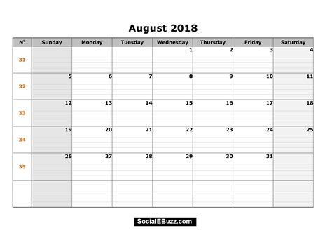 2018 calendar template printable august 2018 calendar printable template with holidays pdf