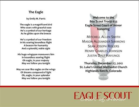 eagle scout court of honor program template 59 best images about bs eagle coh invites programs