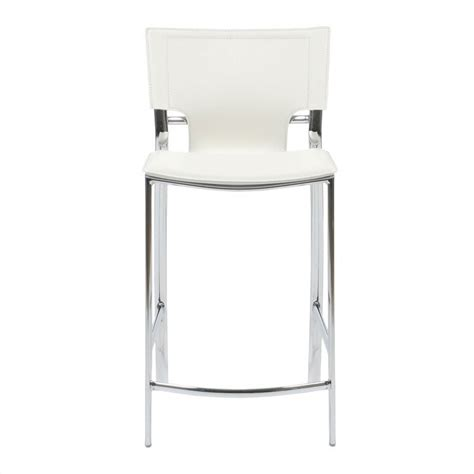 chrome leather bar stools 24 quot counter stool in white leather and chrome 17213wht