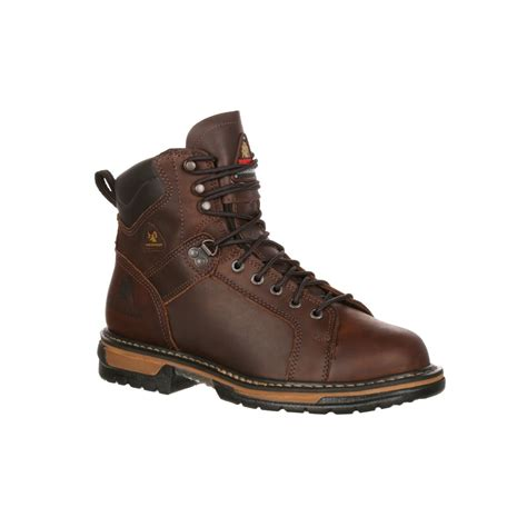 lace to toe work boots rocky ironclad 5703 mens brown leather waterproof lace to