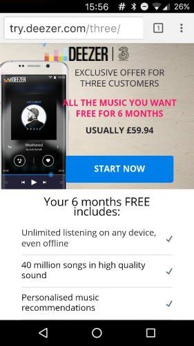 three mobile deals for existing customers free 6 month deezer trial for all three customers hotukdeals
