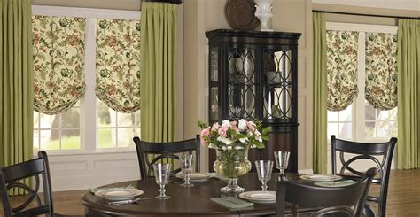 Curtains For Dining Room Windows get soft roman shades with drapery panels 3 day blinds