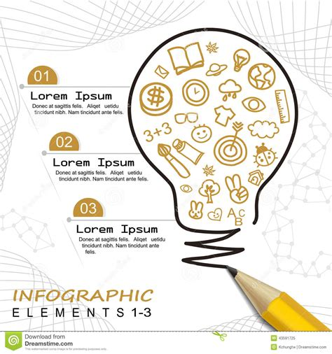 Drawing Infographic Template Modern Template Infographic With Pencil Drawing A Bulb Stock Vector Illustration Of Brochure
