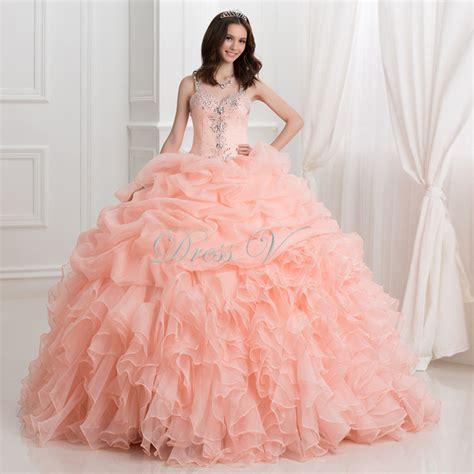 Coral Ruffle Dress 1 coral ruffle quinceanera dresses www pixshark