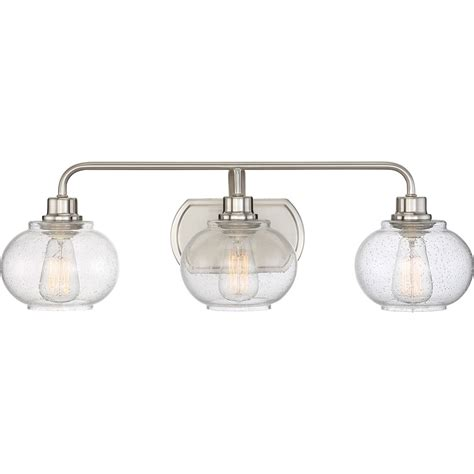 bathroom vanity light bulbs quoizel trg8603bn trilogy modern brushed nickel