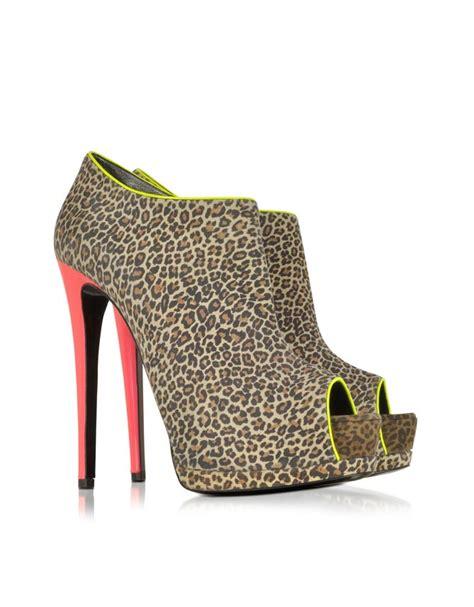high heel pop jungle animal print leather shoes post