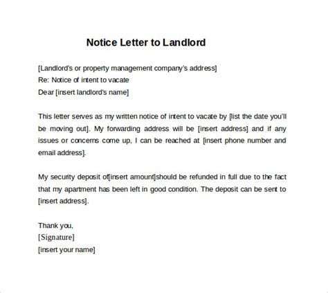 Thank You Letter To Landlord Sle 30 Days Notice Letter To Landlord 7 Free Documents In Word Sle Templates