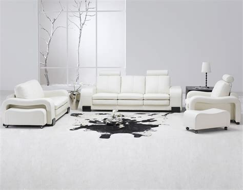 White Leather Living Room Chair - contemporary white leather living room set modern sofa