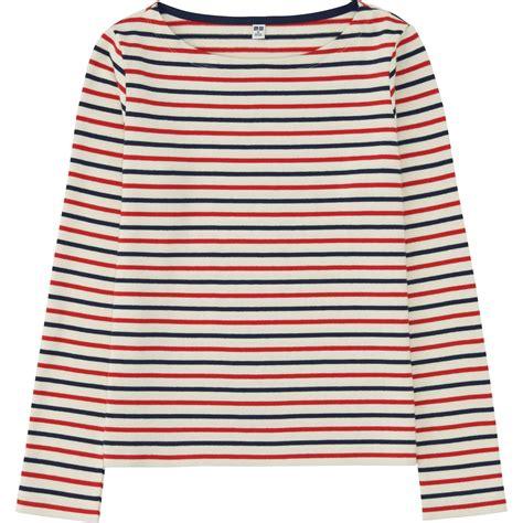 boat neck uniqlo uniqlo women striped boat neck long sleeve t shirt in