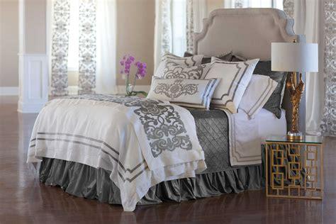 silver coverlet lili alessandra soho white linen with silver velvet