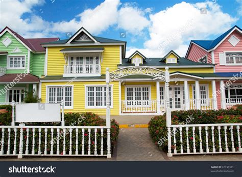 dominican house wooden houses painted caribbean colors samana stock photo