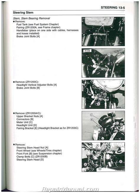 Kawasaki Motorcycle Service by 2001 2008 Kawasaki Zrx1200r Motorcycle Service Manual