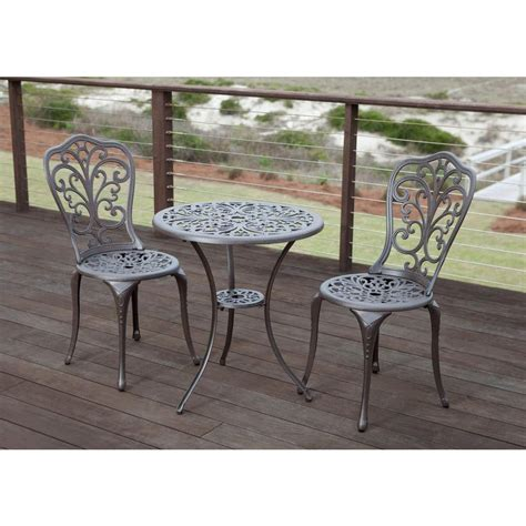 Patio Sense Faustina Bronze 3 Piece Cast Aluminum Patio Patio Bistro Table Set