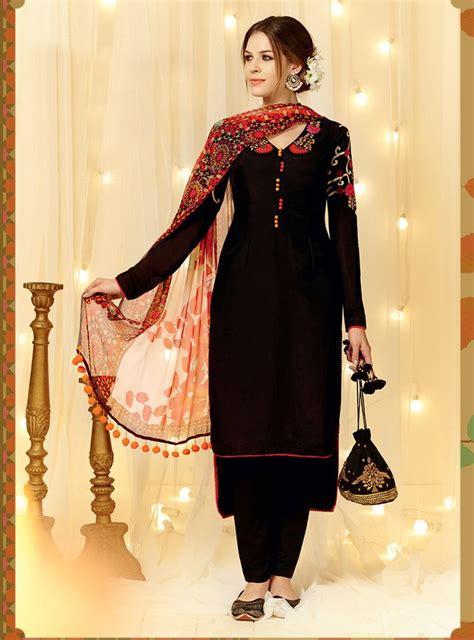 designer pics black cotton satin pakistani style suit 66123 pakistani